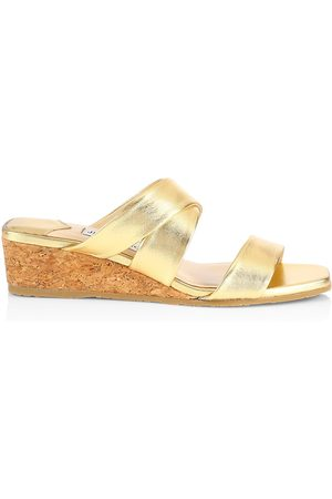 Jimmy Choo Women's Samara Metallic Leather Wedge Mules - - Size 10