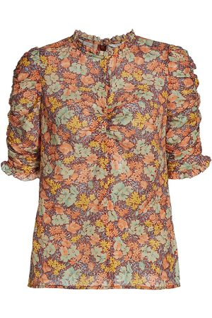 VERONICA BEARD Women's Natuka Floral-Print Ruched Blouse - Size 4