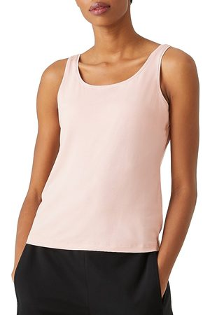 Eileen Fisher Women's Scoop Neck Slim Shell - Powder - Size 18