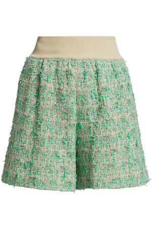 ST. JOHN Women Shorts - Women's Paper Tape Tweed Shorts - Teal Multi - Size XL