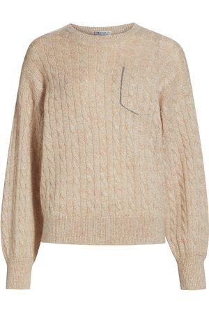 Brunello Cucinelli Women's Mohair-Blend Cable Knit Sweater - Seashell - Size XXS