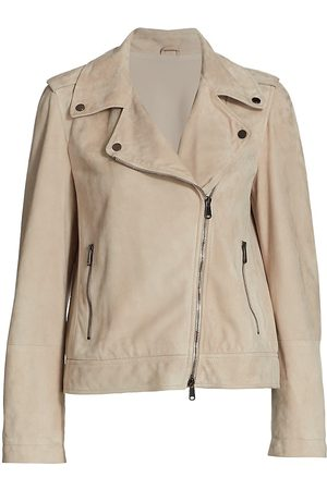 Brunello Cucinelli Women Leather Jackets - Women's Leather Moto Jacket - Taupe - Size 2