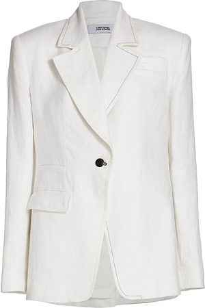 Christopher John Rogers Women's Single-Breasted Relaxed Linen Suit Jacket - - Size 8