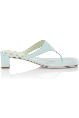 By Far Women's Shawn Croc-Embossed Leather Thong Sandals - Ice - Size 7