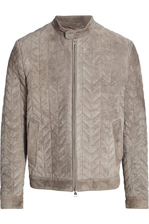 brett johnson Men's Padded Suede Racer Jacket - Taupe - Size 46