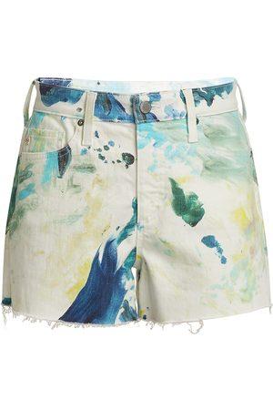 AG Jeans Women's Alexxis High-Rise Tie-Dye Shorts - Garden Paint - Size 30