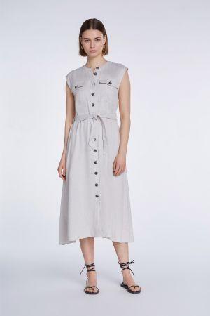 SET Women Sleeveless Dresses - Button Up Sleeveless Dress