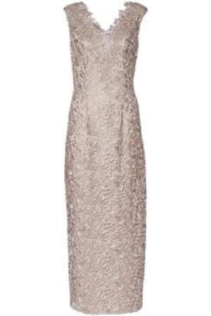 Gina Bacconi Gold Crochet Sleeveless Dress SQQ9160