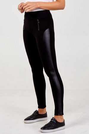 Odyl Pleather panel zip leggings