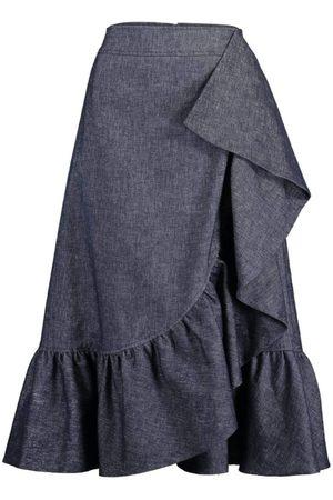 MAISON COMMON Women Midi Skirts - Ruffled Denim Midi Skirt