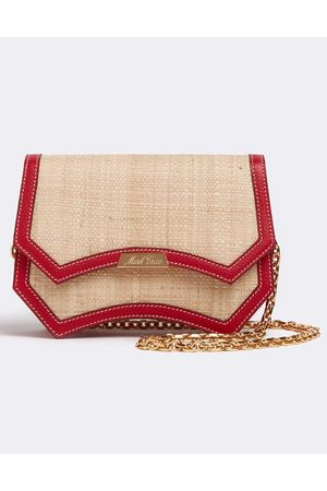 MARK CROSS Madeline Evening Raffia and Leather Clutch