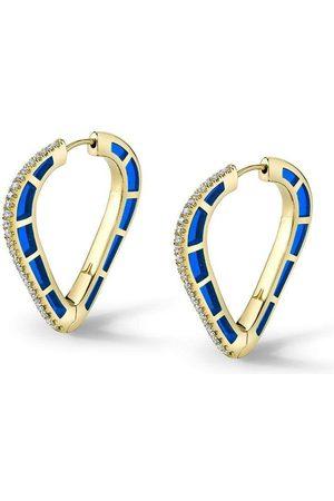 ANDY LIF Blue Enamel and Diamond Cobra Hoops