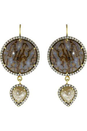 Sylva & Cie Dinosaur Bone Rough Diamond Drop Earrings