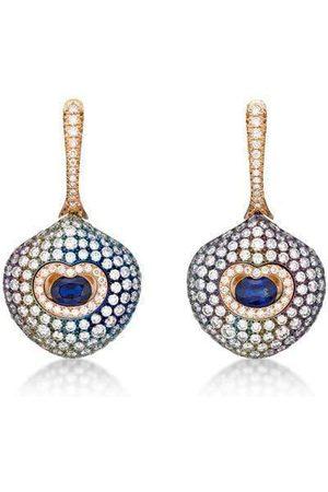 SABOO FINE JEWELS Blue Sapphire and Diamond Multi Color Earrings