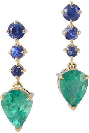 Yi Collection Women Earrings - Emerald & Sapphire Arrow Earrings
