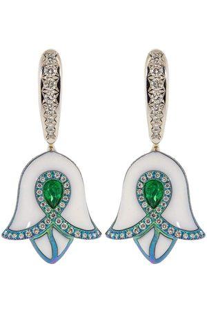 SABOO FINE JEWELS Women Earrings - Emerald, Diamond, and Titanium Drop Earrings