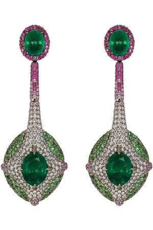 SABOO FINE JEWELS Emerald, Tsavorite, Diamond, Pink Sapphire and Ruby Earrings
