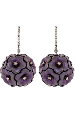 SABOO FINE JEWELS Purple Titanuim and Diamond Flower Earrings