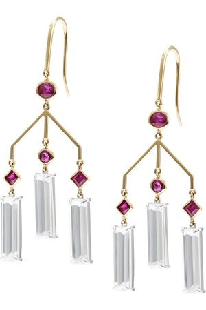 Yi Collection Ruby & Topaz Wind Chime Earrings