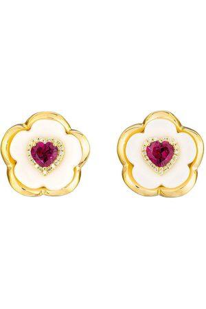 Guita M Rhodelite Garnet White Floral Studs