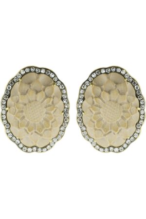 Sylva & Cie Lava Cameo Flower Stud Earrings