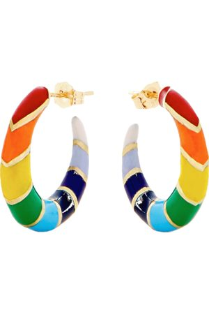 ALISON LOU Rainbow Enamel Striped Hoops