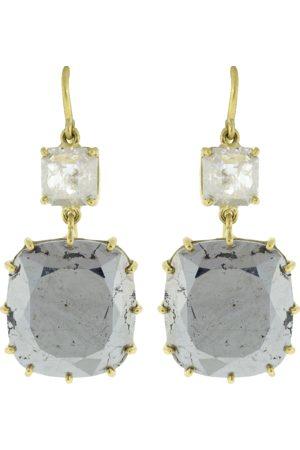 Sylva & Cie Rough Diamond and Silver Calcite Drop Earrings