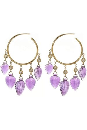JACQUIE AICHE Small Amethyst Shaker Hoops