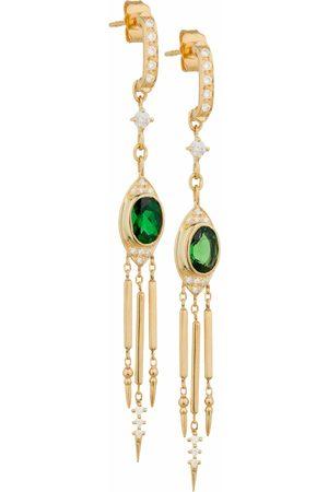 Celine d'Aoust Women Earrings - Oval Tourmaline and Diamond Fringe Dangling Earrings