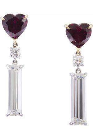Yi Collection Women Earrings - Rhodolite Garnet Diamond & Topaz Love Earrings