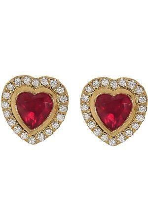 Guita M Ruby and Diamond Heart Studs