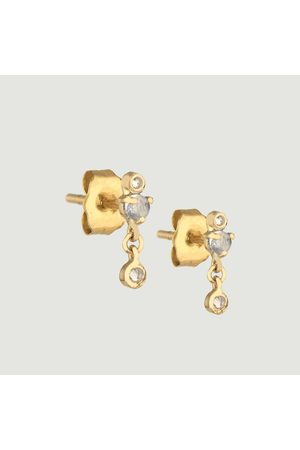 Celine d'Aoust Moonstones and diamonds stud earrings Yellow