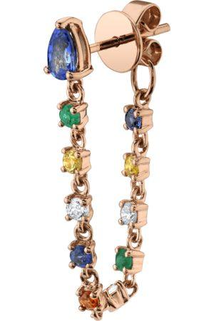 Anita Blue Sapphire Pear, Diamond And Multi-Colored Fine Gemstone Loop Earring