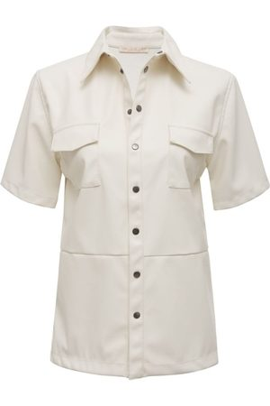 Gold Hawk Faux Leather Short Sleeve Shirt in Dove