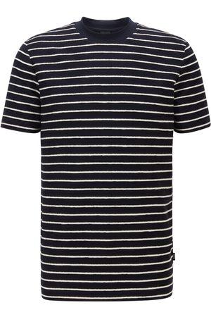 Hugo Boss TIBURT 223 Dark Regular-Fit Cotton-Linen T-Shirt with Horizontal Stripes 50450786