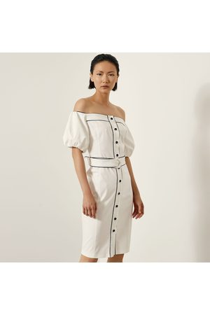 Access Fashion Off White Open Shoulder Pencil Dress