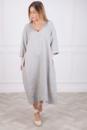 Crossley Bakul V Neck Linen Dress in Silver Grey