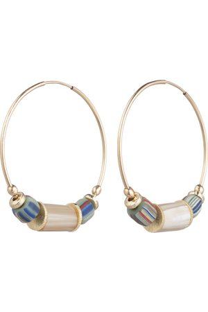 Akola Aden Hoop Earring with Multi Color Glass & Caramel Horn I