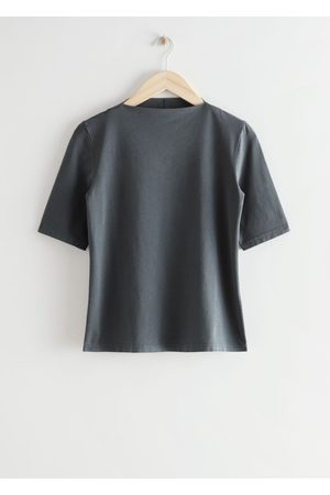 & OTHER STORIES Fitted Mock Neck Top - Grey