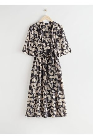 & OTHER STORIES Printed Relaxed Midi Wrap Dress - Grey