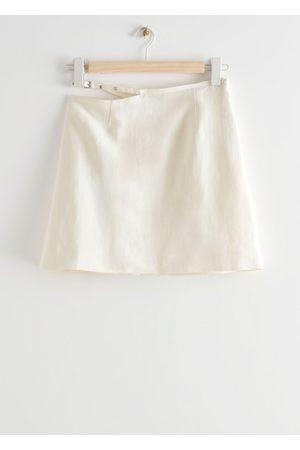 & OTHER STORIES Linen Blend Cut Out Mini Skirt