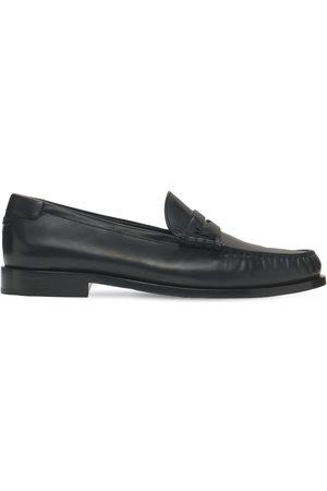 Saint Laurent Monogram Penny Leather Loafers
