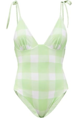 Solid Women Swimsuits - The Olympia Reversible Check Swimsuit - Womens