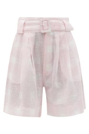 Solid Women Shorts - The Talia Gingham Cotton-blend Wide-leg Shorts - Womens
