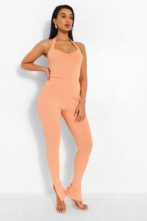 Boohoo Women Formal Pants - Womens Rib Side Split Pants - - 2