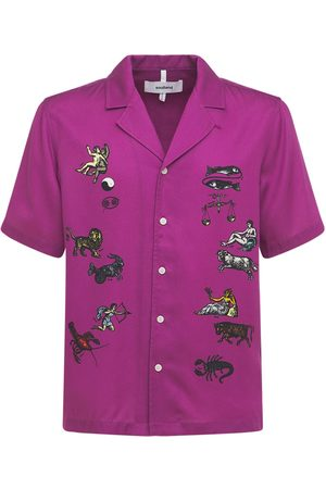 Soulland Orson Zodiac Embroidered Satin S/s Shirt