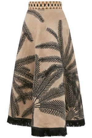 LE SIRENUSE, POSITANO Livia Palm-embroidered Linen-blend Midi Skirt - Womens