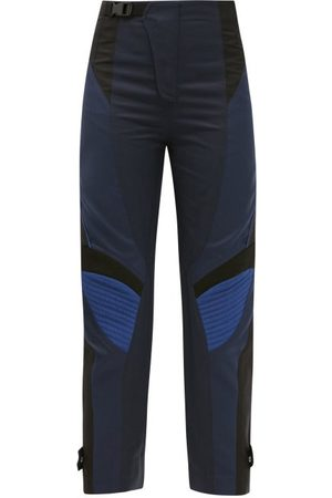 Stella McCartney Women Pants - Brooke Panelled Cotton-blend Cropped Trousers - Womens - Navy