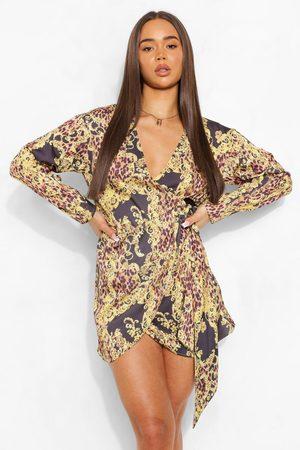 Boohoo Womens Chain Print Satin Wrap Shirt Style Dress - - 4
