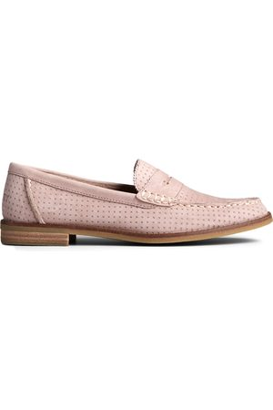 Sperry Top-Sider Women Loafers - Women's Sperry Seaport Penny Perforated Leather Loafer Bark, Size 6M